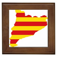 Flag Map Of Catalonia Framed Tiles