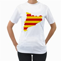 Flag Map Of Catalonia Women s T-Shirt (White) (Two Sided)