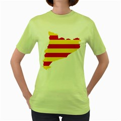Flag Map Of Catalonia Women s Green T-Shirt