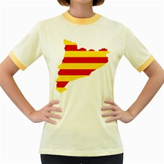 Flag Map Of Catalonia Women s Fitted Ringer T-Shirts