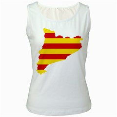 Flag Map Of Catalonia Women s White Tank Top
