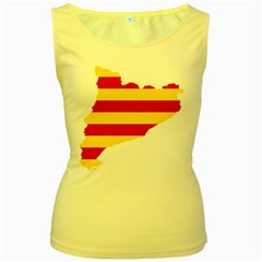 Flag Map Of Catalonia Women s Yellow Tank Top