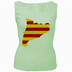 Flag Map Of Catalonia Women s Green Tank Top