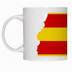 Flag Map Of Catalonia White Mugs
