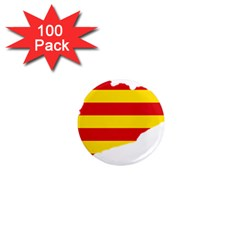 Flag Map Of Catalonia 1  Mini Magnets (100 pack)