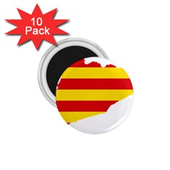 Flag Map Of Catalonia 1.75  Magnets (10 pack)