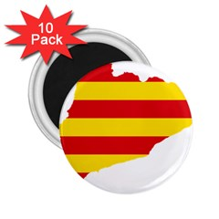 Flag Map Of Catalonia 2.25  Magnets (10 pack)