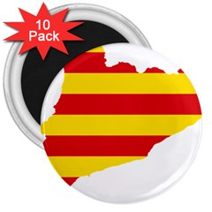 Flag Map Of Catalonia 3  Magnets (10 pack)