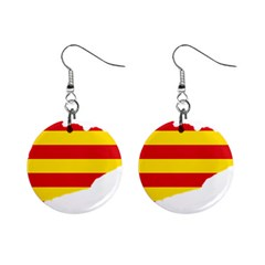 Flag Map Of Catalonia Mini Button Earrings