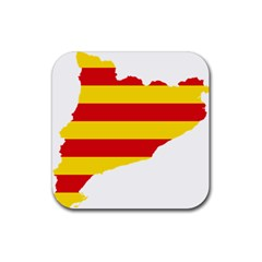 Flag Map Of Catalonia Rubber Square Coaster (4 pack)