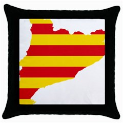 Flag Map Of Catalonia Throw Pillow Case (Black)