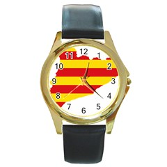 Flag Map Of Catalonia Round Gold Metal Watch