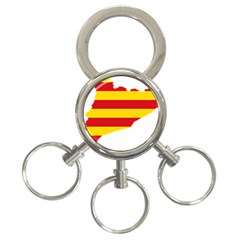 Flag Map Of Catalonia 3-Ring Key Chains