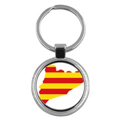 Flag Map Of Catalonia Key Chains (Round)