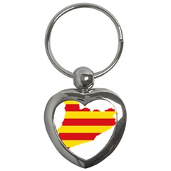 Flag Map Of Catalonia Key Chains (Heart)