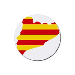 Flag Map Of Catalonia Rubber Round Coaster (4 pack)