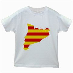 Flag Map Of Catalonia Kids White T-Shirts