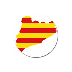 Flag Map Of Catalonia Magnet 3  (Round)