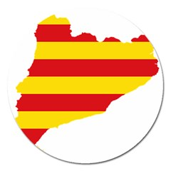 Flag Map Of Catalonia Magnet 5  (Round)