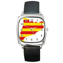 Flag Map Of Catalonia Square Metal Watch