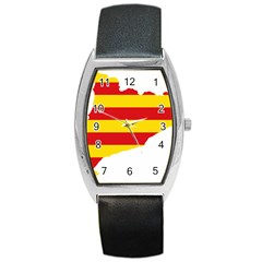 Flag Map Of Catalonia Barrel Style Metal Watch