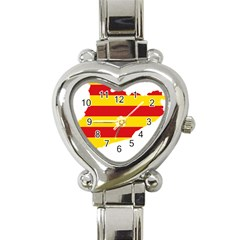 Flag Map Of Catalonia Heart Italian Charm Watch