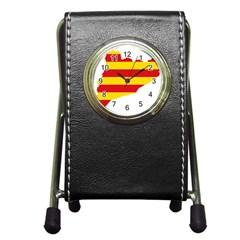 Flag Map Of Catalonia Pen Holder Desk Clocks