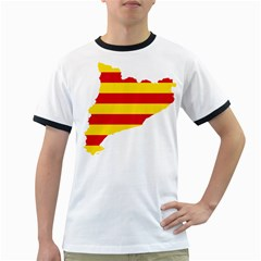 Flag Map Of Catalonia Ringer T-Shirts