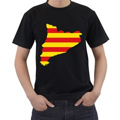 Flag Map Of Catalonia Men s T-Shirt (Black) (Two Sided)