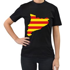 Flag Map Of Catalonia Women s T-Shirt (Black) (Two Sided)