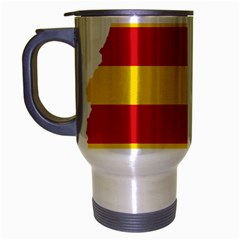 Flag Map Of Catalonia Travel Mug (Silver Gray)