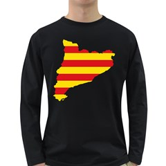 Flag Map Of Catalonia Long Sleeve Dark T-Shirts