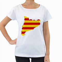 Flag Map Of Catalonia Women s Loose-Fit T-Shirt (White)