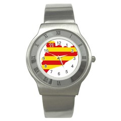 Flag Map Of Catalonia Stainless Steel Watch
