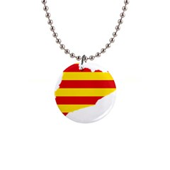Flag Map Of Catalonia Button Necklaces