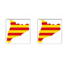 Flag Map Of Catalonia Cufflinks (Square)