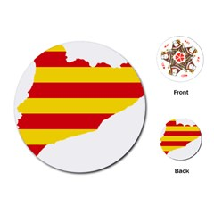 Flag Map Of Catalonia Playing Cards (Round)
