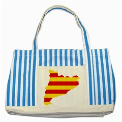Flag Map Of Catalonia Striped Blue Tote Bag