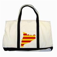 Flag Map Of Catalonia Two Tone Tote Bag