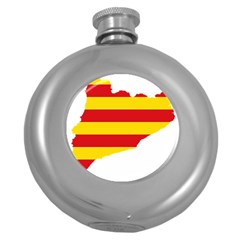 Flag Map Of Catalonia Round Hip Flask (5 oz)
