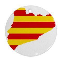 Flag Map Of Catalonia Round Ornament (Two Sides)