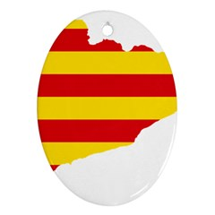 Flag Map Of Catalonia Oval Ornament (Two Sides)