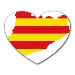 Flag Map Of Catalonia Heart Mousepads