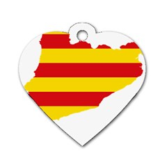 Flag Map Of Catalonia Dog Tag Heart (Two Sides)