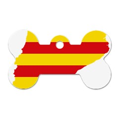 Flag Map Of Catalonia Dog Tag Bone (Two Sides)