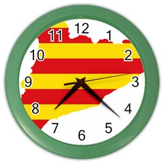 Flag Map Of Catalonia Color Wall Clocks