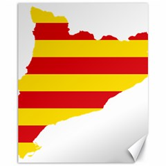 Flag Map Of Catalonia Canvas 11  x 14