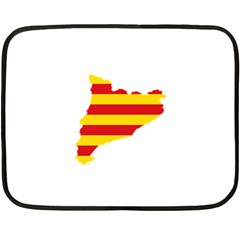Flag Map Of Catalonia Double Sided Fleece Blanket (Mini)