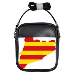 Flag Map Of Catalonia Girls Sling Bags