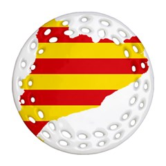 Flag Map Of Catalonia Round Filigree Ornament (2Side)